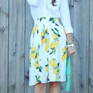 Talbots Lemon print skirt plus size 14